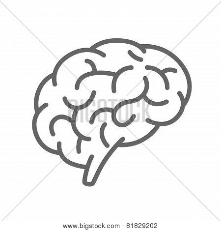 Silhouette of the brain on a white background
