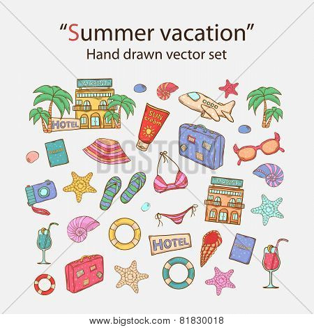 Summer vacation doodle set.