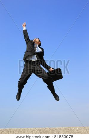 Happy Business Man Jump