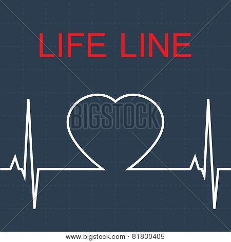 Vector  life line and heart in pulse