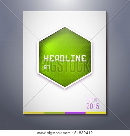 Green Geometric Label For Business Headline, Presentation
