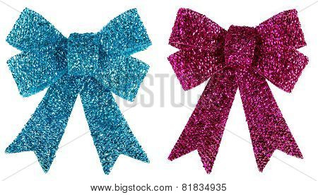 Blue and purple glitter bow isolated on white