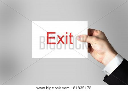 Hand Holding Sign Exit