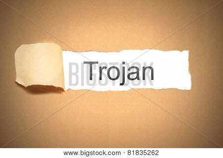 Brown Paper Torn To Reveal Trojan