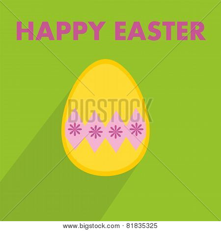 Flat vector easter egg and wishes on green background