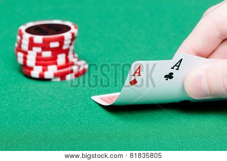 Card Player. Male Hand With Cards