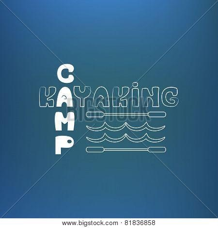 Kayaking camp poster, banner. On blue like underwater background