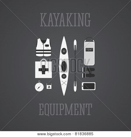 Kayaking equipment icons set. Kayak illustration on a grayscale design. With tent, compass, mobile d