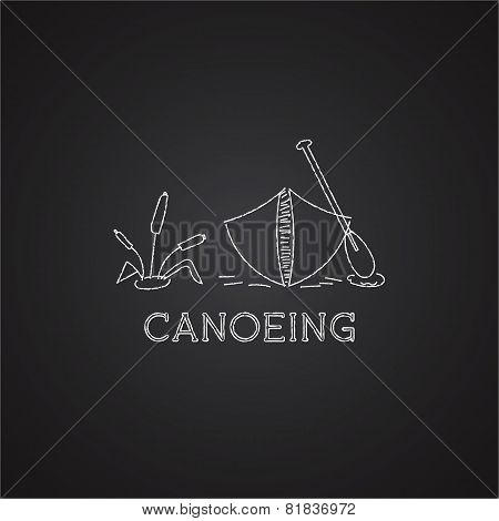 Canoe logo and icon. Chalk drawing design on black background. Can be used as banner, poster, logo e