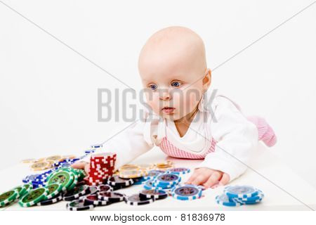 Infant With Chips From The Casino