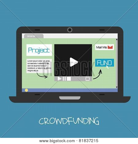 Vector crowdfunding concept. Online fund the project.