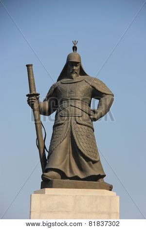 Statue Of Yi Sun-shin, Korean Naval Commander, Famed For His Victories Against The Japanese Navy Dur