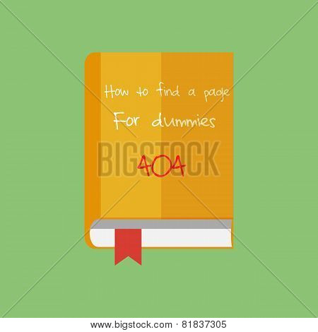Flat book icon, vector. How to find a page in Internet.