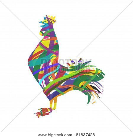 abstract silhouette of rooster