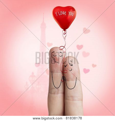 Finger art. Lovers is embracing and holding balloon. Stock Image
