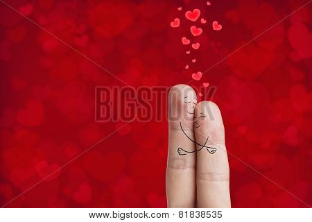 Finger art. Lovers is embracing. Stock Image