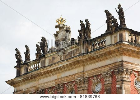 Statues On The Roof Of New Palace Sanssouci