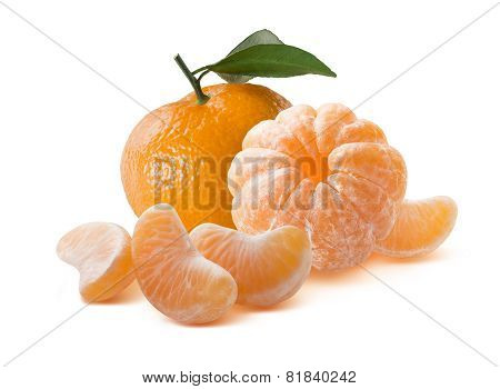 Whole Mandarins Peeled And Unpeeled Isolated On White