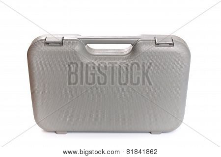 Grey  Plastic Tool Box Isolate White Background