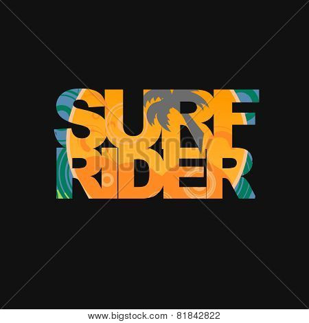 Surfer typography, t-shirt graphics, vectors