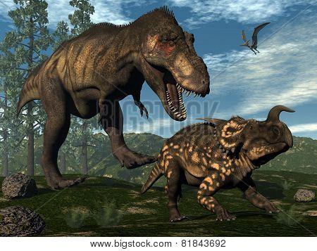 Tyrannosaurus rex attacking einiosaurus dinosaur - 3D render
