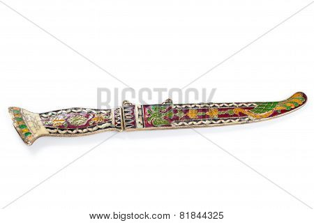 Turkish Old Damascus Blade Isolated On White