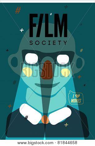 Poster for Film Society. Vector illustration.