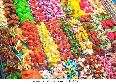 Mouth-watering candy at a market
