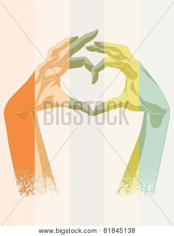 Vector Illustration. Double Exposure Of Heart Symbol