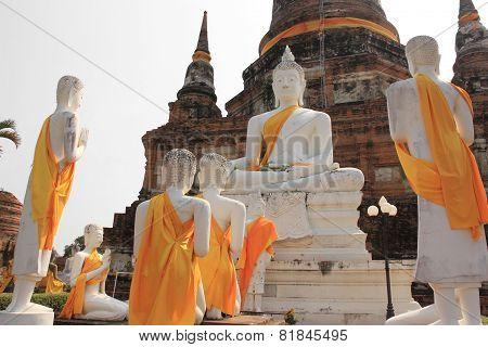 Ancient Buddha At Wat Yaichaimongkol Temple