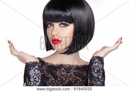 Black Bob Short Hairstyle. Brunette Girl Model With Open Hands On White Background.