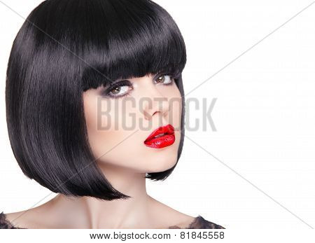 Fashion Portrait Of Beautiful Brunette Woman With Red Lips And Short Bob Black Hair Style Isolated O