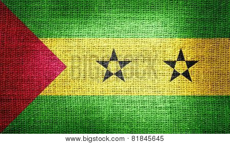 Sao Tome and Principe flag on burlap fabric