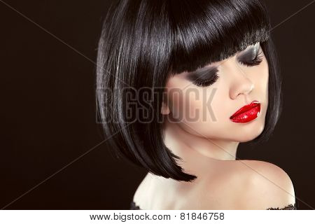 Smoky Eyes Makeup Closeup. Black Bob Hairstyle. Sexy Red Lips. Brunette Girl With Shiny Glossy Short