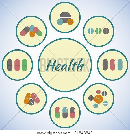 Health Card. Pharmacy Icons Set, Pills And Capsules. Medicine Background