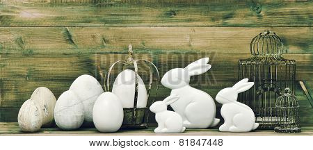 Easter Bunny And Eggs. Retro Style Easter Decoration