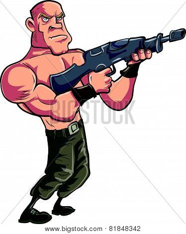 Cartoon muscled gunman with automatic rifle