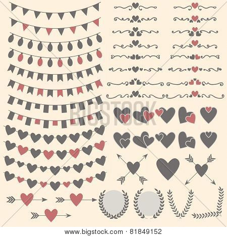 Wedding Set Of Hearts, Arrows, Garlands, Laurel, Wreaths And Labels. Valentine's Day Design
