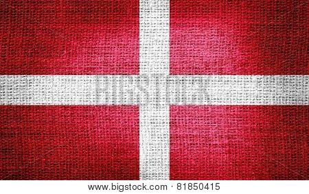 Sovereign Military Order of Malta flag on burlap fabric