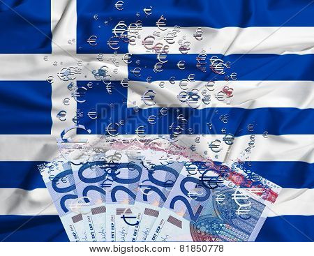 20 Euro Banknote Dissolving As A Concept Of Economic Crisis In Greece