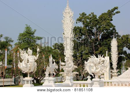 Beautiful Decoration Within Wat Rong Khun Or White Temple, A Contemporary Unconventional Buddhist Te