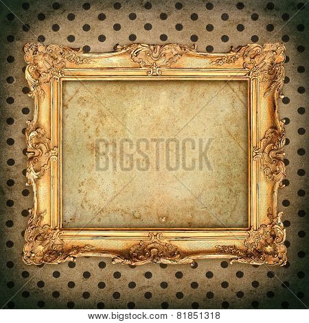 Antique Picture Frame Over Aged Wallpaper. Vintage Grunge Background