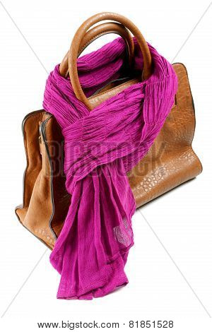 Brown Leather Bag And Violet Scarf Isolated