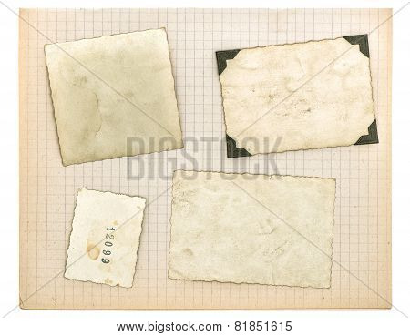 Vintage Photo Frames And Math Book Page. Used Paper Texture