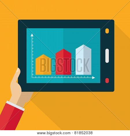 Colorful Flat Touch Interface With Graph Background. Hand Using And Touching Screen. Vector Flat Des