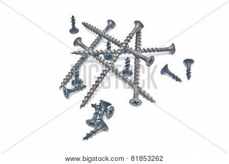 Set Of Black Screws Close-up On White
