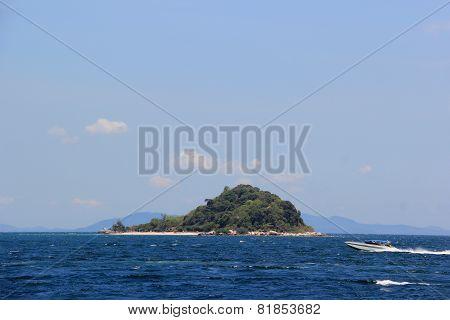 Speedboat Driven In Blue Ocean