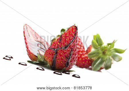 Strawberry with drop of chocolate