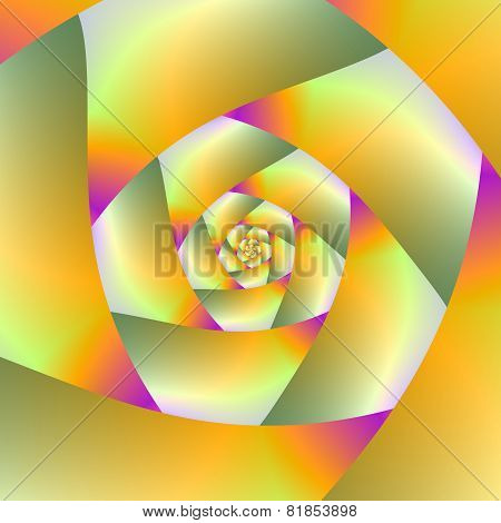 Yellow Orange Pink And Green Spiral