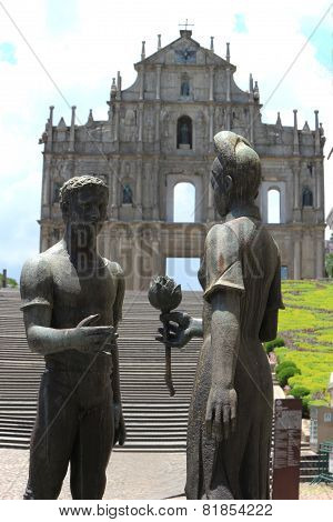 Statue In Front Of The Ruins Of St. Paul's, One Of The Macau's Most Famous Landmarks And Officially